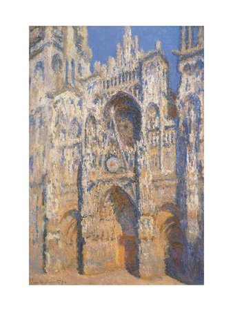 Rouen Cathedral, Morning Sun, Harmony in Blue Prints by Claude Monet