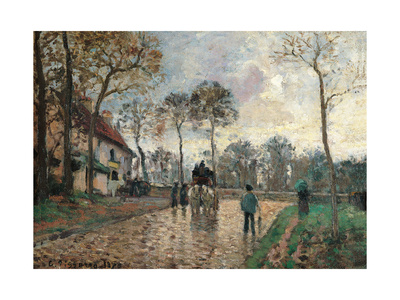 Stagecoach at Louveciennes Posters by Camille Pissarro