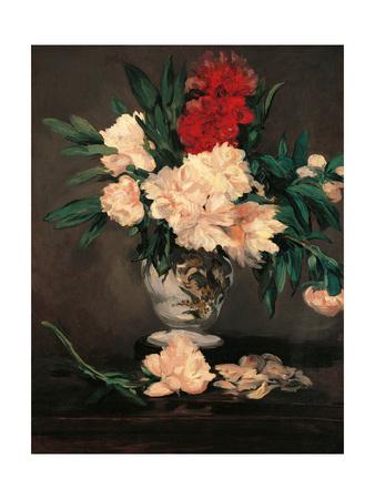 Vase with Peonies on a Pedestal Prints by Édouard Manet