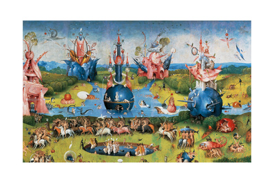 Garden of Earthly Delights,(Martyrs & Angels) by Hieronymus Bosch, c. 1503-04. Prado. Detail. Print by Hieronymus Bosch