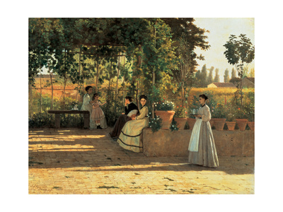 One Afternoon (or The Pergola) Print by Silvestro Lega