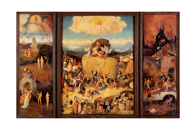 Tryptych of Hay, (Full open view) Posters by Hieronymus Bosch