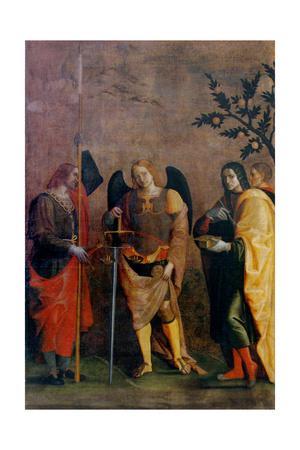 St. Bovo, Archangel Michael, St. Cosmas and St. Damian Prints by Caroto Gian Francesco