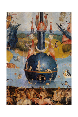 Garden of Earthly Delights,(Martyrs & Angels) by Hieronymus Bosch, c. 1503-04. Prado. Detail. Art by Hieronymus Bosch