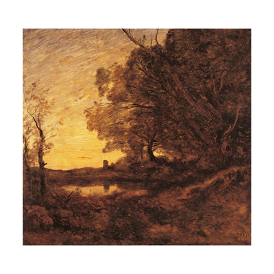 Evening. Distant Tower Art by Jean-Baptiste-Camille Corot