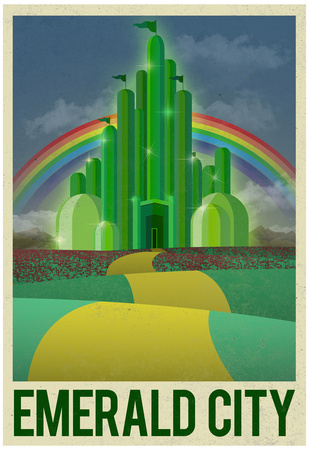 Emerald City Retro Travel Poster Billeder