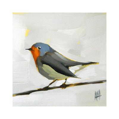Robin on Wire Poster di Angela Moulton
