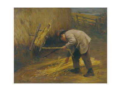 Spinning Thatch Bands, 1883 Giclee Print by Frederick George Cotman