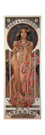 Poster Advertising 'Moet and Chandon Dry Imperial' Champagne, 1899 Lámina giclée por Alphonse Mucha