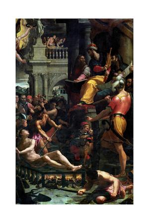 The Martyrdom of St. Lawrence, 1573 Giclee Print by Girolamo Macchietti