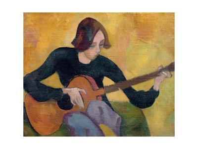 Nina Hamnett (1890-1956) with Guitar, c.1917/18 Giclee Print by Roger Eliot Fry
