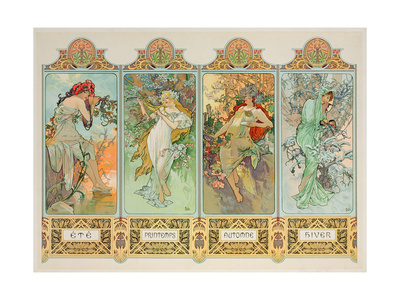 The Seasons: Variant 3 Gicléetryck av Alphonse Mucha