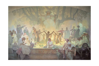 The Oath of Omladina under the Slavic Linden Tree, from the 'Slav Epic', 1926 Lámina giclée por Alphonse Mucha