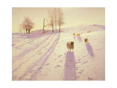 When Snow the Pasture Sheets Giclee Print by Joseph Farquharson