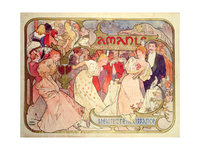 Poster Advertising 'Amants', a Comedy at the Theatre De La Renaissance, 1896 Giclee Print by Alphonse Mucha