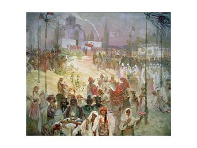 The Coronation of Tsar Stepan Dusan (1308-55) from the 'Slav Epic', 1926 Lámina giclée por Alphonse Mucha