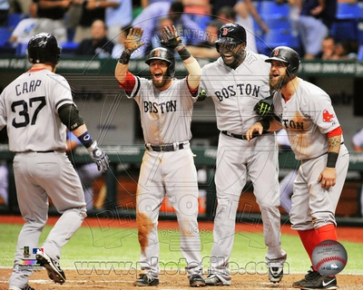 Boston Red Sox - David Ortiz, Dustin Pedroia, Mike Napoli, Mike Carp Photo Photo