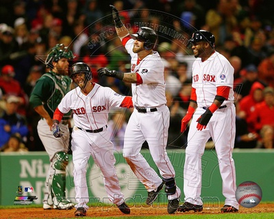 Boston Red Sox - David Ortiz, Dustin Pedroia, Mike Napoli Photo Photo