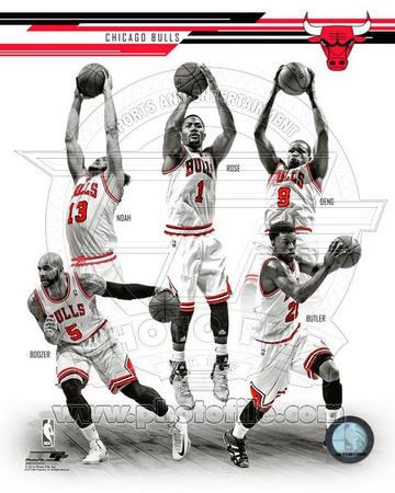 Chicago Bulls - Carlos Boozer, Luol Deng, Derrick Rose, Joakim Noah, Jimmy Butler Photo Photo