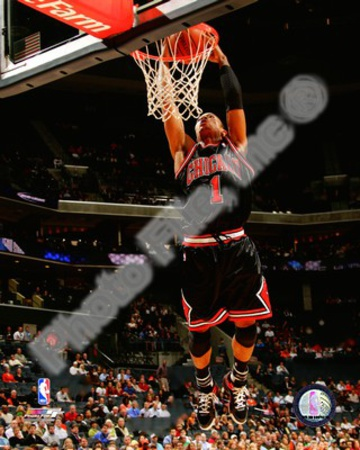 NBA basketball pic Chicago Bulls - Derrick Rose dunk Photo