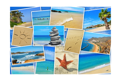 A Collage Of Some Pictures Of Different Beaches Of Spain Posters by  nito