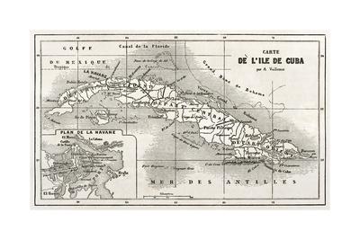 Cuba Old Map With Havana Insert Plan Art by  marzolino