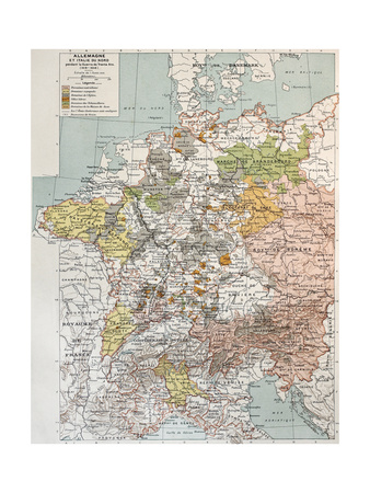 Germany And Northern Italy During Thirty Years War, Old Map Posters by  marzolino