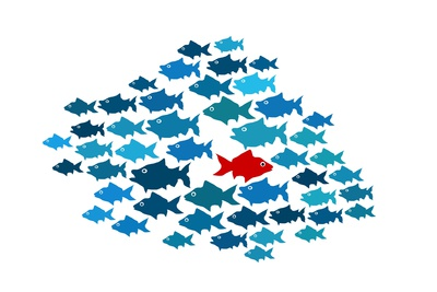 One Fish Swim In Opposite Direction, Dare To Be Different Concept Affischer av  mypokcik