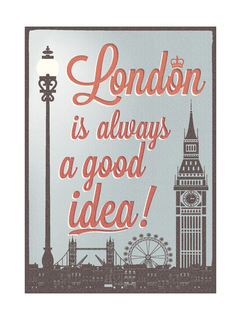 Typographical Retro Style Poster With London Symbols And Landmarks Posters af  Melindula