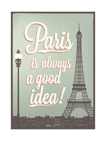 Typographical Retro Style Poster With Paris Symbols And Landmarks Print by  Melindula