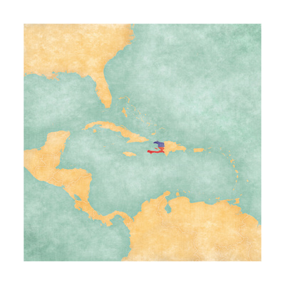 Map Of Caribbean - Haiti (Vintage Series) Prints by  Tindo