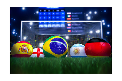 3D Rendering Of Footballs In The Year 2014 In A Football Stadium Posters by  coward_lion