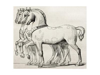 St. Mark Basilica Horses Old Illustration Print by  marzolino