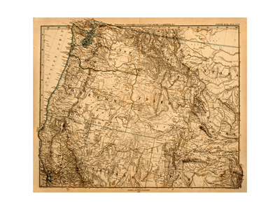 Old Map Of The Us Pacific Northwest Art by  Tektite
