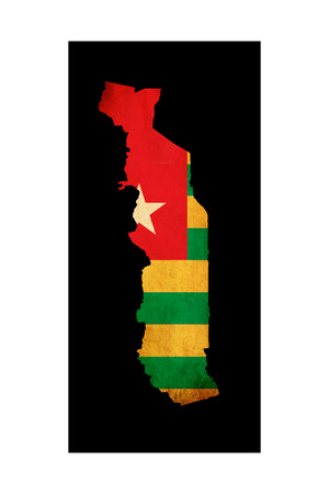 Map Outline Of Togo With Flag Grunge Paper Effect Posters by  Veneratio