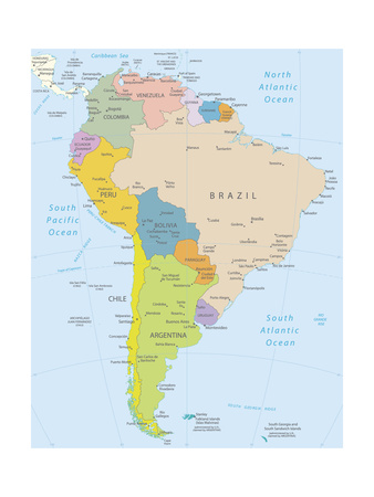 South America-Highly Detailed Map Art by  ekler
