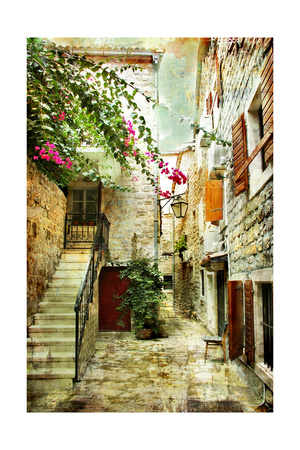 Courtyard Of Old Croatia - Picture In Painting Style Prints by  Maugli-l