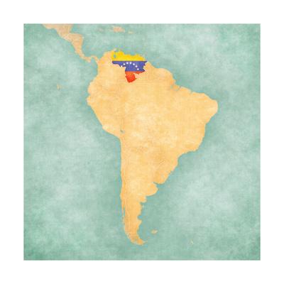 Map Of South America - Venezuela (Vintage Series) Art by  Tindo