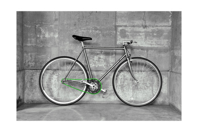 A Fixed-Gear Bicycle (Also Called Fixie) In Black And White With A Green Chain Prints by  Dutourdumonde