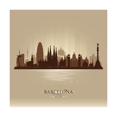 Barcelona Spain City Skyline Poster by  Yurkaimmortal