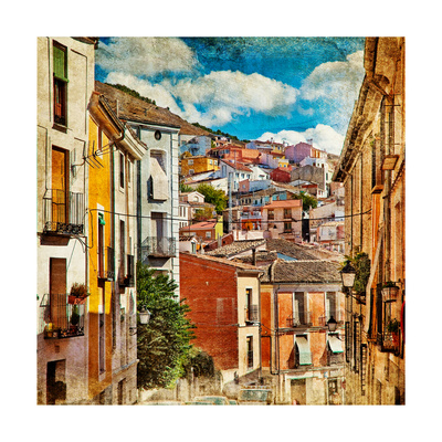 Colorful Spain - Streets And Buildings Of Cuenca Town - Artistic Picture Posters av  Maugli-l
