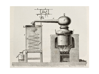 Old Schematic Illustration Of A Brass Alembic Posters af  marzolino