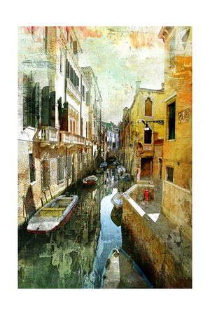Pictorial Venetian Streets - Artwork In Painting Style Poster by  Maugli-l