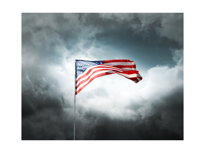 American Flag On A Cloudy Dramatic Sky Art by  daboost