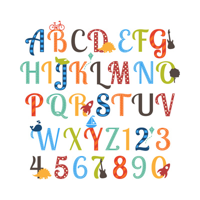 Cute Retro Style Boy Themed Alphabet Set Prints by Pink Pueblo