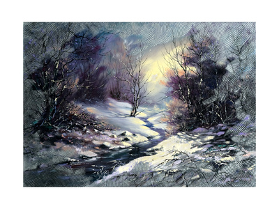 Landscape With Winter Wood Small River Prints by  balaikin2009