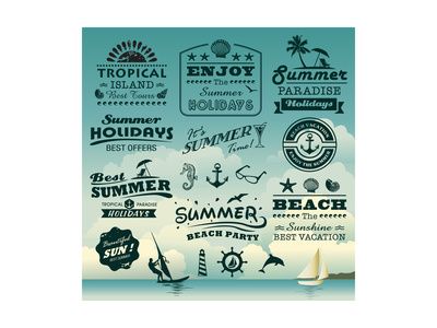 Vintage Summer Typography Design With Labels, Icons Elements Collection Posters by  Catherinecml