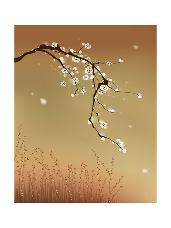 Oriental Style Painting, Plum Blossom Print by  ori-artiste
