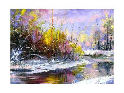 Winter Landscape With The Wood River Posters by  balaikin2009