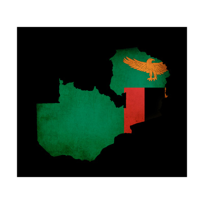 Map Outline Of Zambia With Flag Grunge Paper Effect Posters by  Veneratio